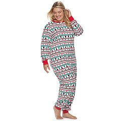 Plus Size Jammies For Your Families Fairisle Microfleece One-Piece Pajamas
