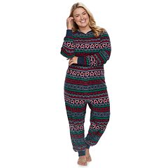 Plus Size Jammies For Your Families Gingerbread Man Holiday Fairisle Microfleece One-Piece Pajamas