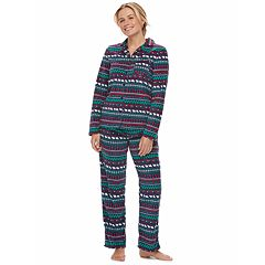 Women's Jammies For Your Families Happy Holidays Fairisle Family Pajamas Microfleece Top & Bottoms Set