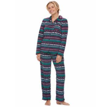 Women's Jammies For Your Families Happy Holidays Fairisle Family Pajamas Microfleece Top & Bottoms Set