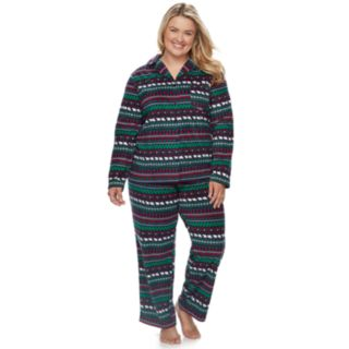 Plus Size Jammies For Your Families Happy Holidays Fairisle Family Pajamas Microfleece Top & Bottoms Set
