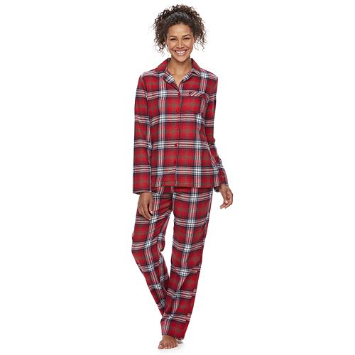 Women's Jammies For Your Families Plaid Flannel Sleep Top & Bottoms Pajama Set