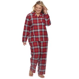 Plus Size Jammies For Your Families Plaid Flannel Top & Bottoms Pajama Set