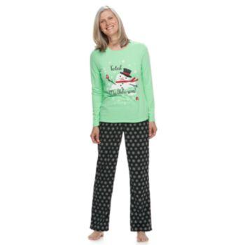 "Women's Jammies For Your Families Snowman & Snowflakes ""Total Meltdown"" Top & Microfleece Bottoms Pajama Set"