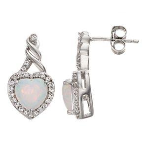 Sterling Silver Lab-Created Opal Heart Stud Earrings