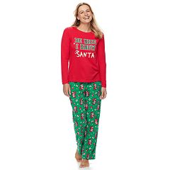 Women's Jammies For Your Families 'Be Nice I Know Santa' Top & Santa Microfleece Bottoms Pajama Set