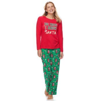 "Women's Jammies For Your Families ""Be Nice I Know Santa"" Top & Santa Microfleece Bottoms Pajama Set"
