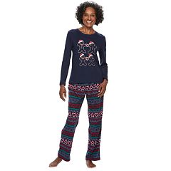 Women's Jammies For Your Families Gingerbread Man Holiday Top & Fairisle Microfleece Bottoms Pajama Set