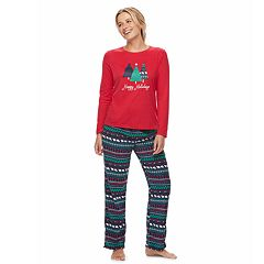 Women's Jammies For Your Families Happy Holidays Family Pajamas Top & Microfleece Bottoms Set