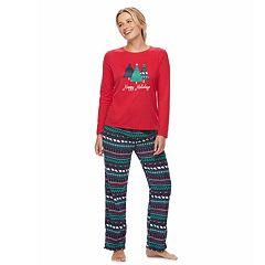 f44d24a93d Women s Jammies For Your Families Happy Holidays Family Pajamas Sleep Top    Microfleece Bottoms Pajama Set