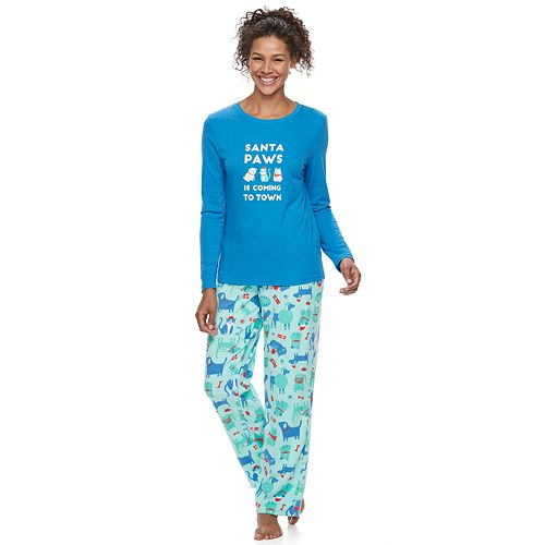 """Women's Jammies For Your Families """"Santa Paws is Coming to Town"""" Top & Microfleece Dog & Cat Pattern Bottoms Pajama Set"""