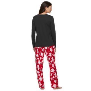 "Women's Jammies For Your Families ""Yeti For Christmas"" Top & Microfleece Bottoms Pajama Set"