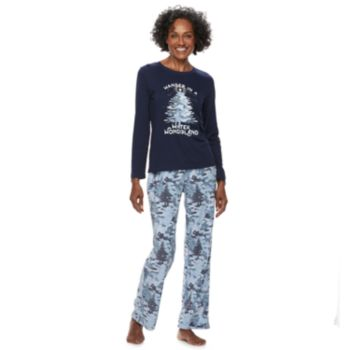 "Women's Jammies For Your Families Holiday Camouflage ""Wander in a Winter Wonderland"" Top & Microfleece Bottoms Pajama Set"