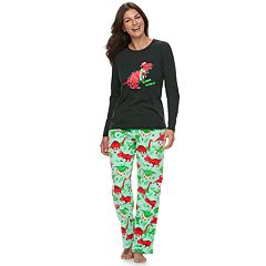 Women's Jammies For Your Families Dino 'Rawr to the World' Top & Microfleece Bottoms Pajama Set