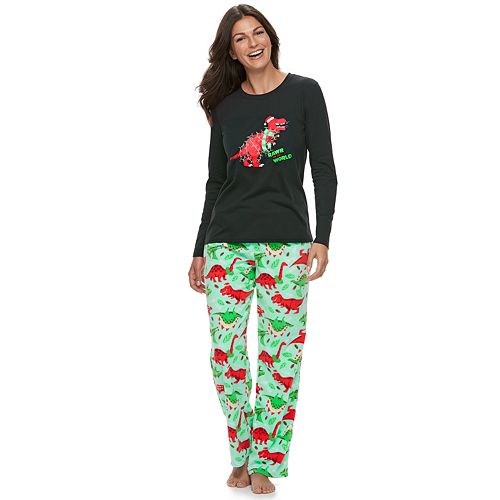 """Women's Jammies For Your Families Dino """"Rawr to the World"""" Top & Microfleece Bottoms Pajama Set"""