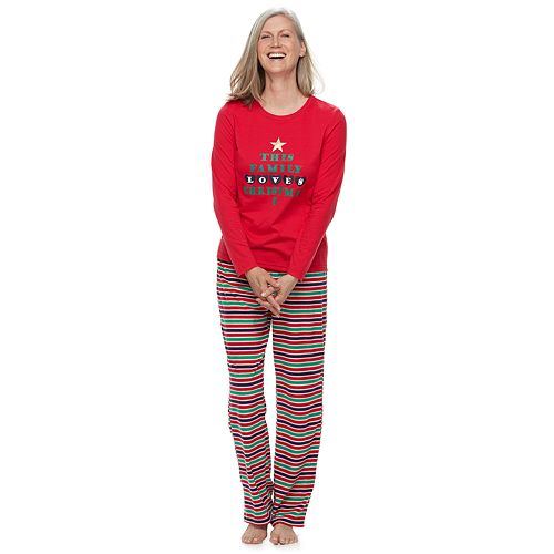 """Women's Jammies For Your Families """"This Family Loves Christmas"""" Top & Microfleece Striped Bottoms Pajama Set"""