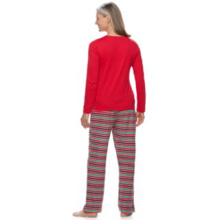 "Women's Jammies For Your Families ""This Family Loves Christmas"" Top & Microfleece Striped Bottoms Pajama Set"