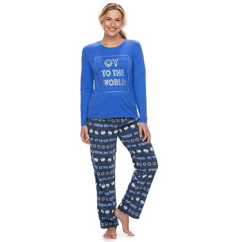 """Women's Jammies For Your Families Hanukkah """"Oy to the World"""" Top & Microfleece Bottoms Pajama Set"""