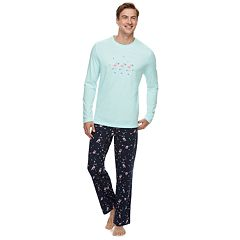 Men's Jammies For Your Families Skating Flamingos Top & Bottoms Pajama Set