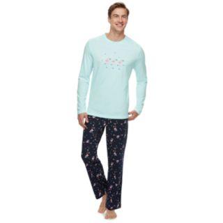 Men's Jammies For Your Families Skating Flamingos Top & Bottoms Pajama Set