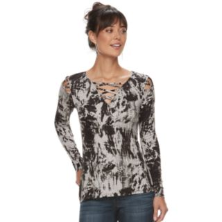 Women's Rock & Republic® Lattice-Shoulder Tee