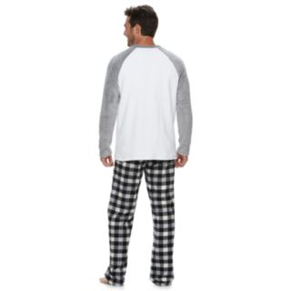 Men's Jammies For Your Families Panda Bear Microfleece Top & Plaid Bottoms Pajama Set