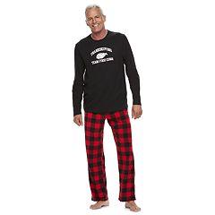 Men's Jammies For Your Families Thanksgiving 'Team Food Coma' Top & Buffalo Checkered Microfleece Bottoms Pajama Set