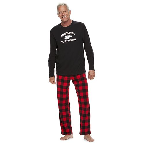 "Men's Jammies For Your Families Thanksgiving ""Team Food Coma"" Top & Buffalo Checkered Microfleece Bottoms Pajama Set"