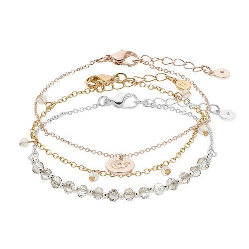 LC Lauren Conrad Snowflake & Moon Bracelet Set