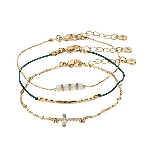 LC Lauren Conrad Bead & Cross Bracelet Set