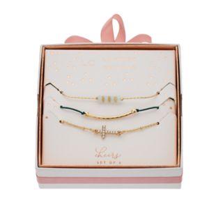 LC Lauren Conrad Bead & Cross Bracelet Set