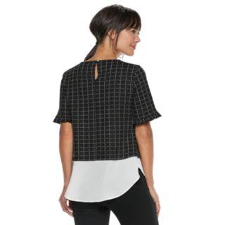 Women's ELLE? Plaid Mock-Layer Top
