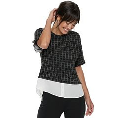Women's ELLE™ Plaid Mock-Layer Top
