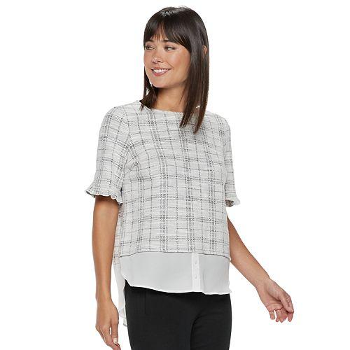 Women's ELLE™ Plaid Mock-Layer Top
