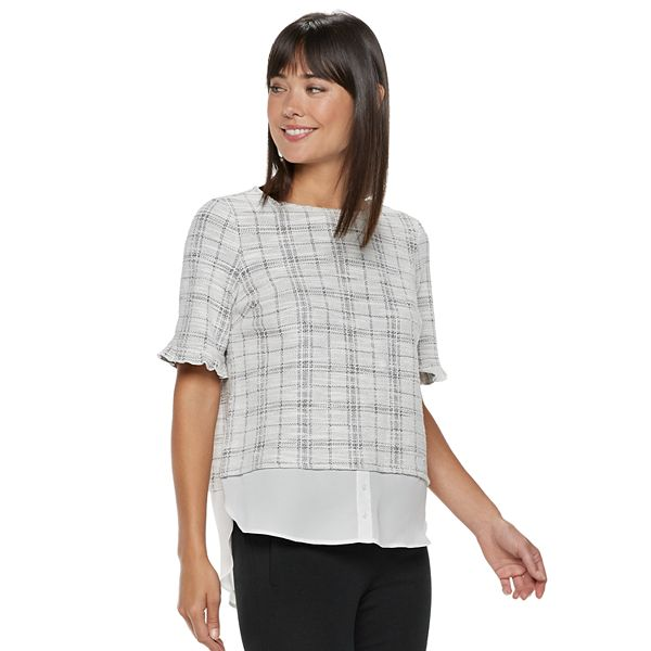 Women's ELLE™ Plaid Mock Layer Top