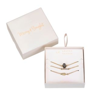 LC Lauren Conrad Druzy, Feather & Pave Bar Bracelet Set