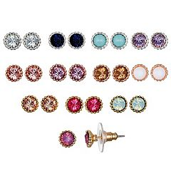 LC Lauren Conrad Tri Tone Nickel Free Simulated Crystal Stud Earring Set