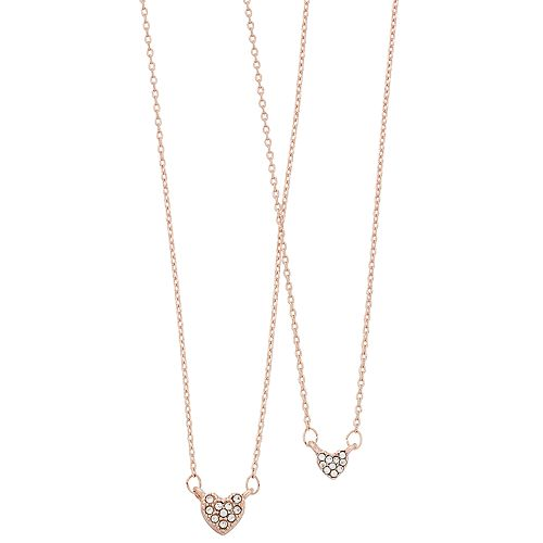 LC Lauren Conrad Simulated Crystal Heart Necklace Set