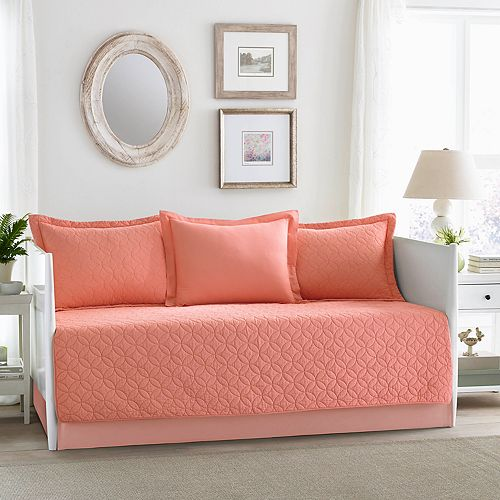 Laura Ashley Lifestyles Solid Coral 5-piece Daybed Set