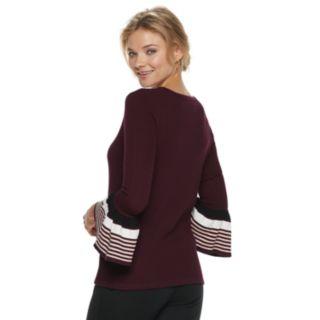 Women's ELLE? Striped Bell Sleeve Crewneck Sweater