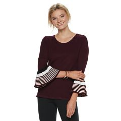Women's ELLE™ Striped Bell Sleeve Crewneck Sweater