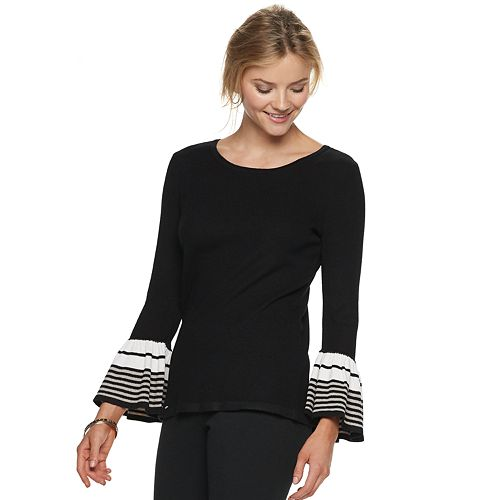 Women's ELLE™ Striped Bell Sleeve Crewneck Sweater