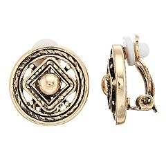 Dana Buchman Medallion Clip On Earrings
