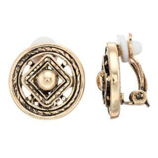 Dana Buchman Medallion Clip On Earrings
