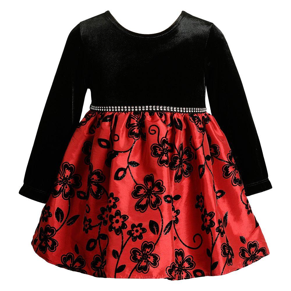Baby Girl Youngland Velvet Floral Dress