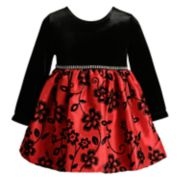 Baby Girl Youngland Velvet Floral Dress