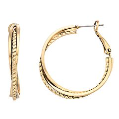 Dana Buchman Textured Twist Hoop Earrings