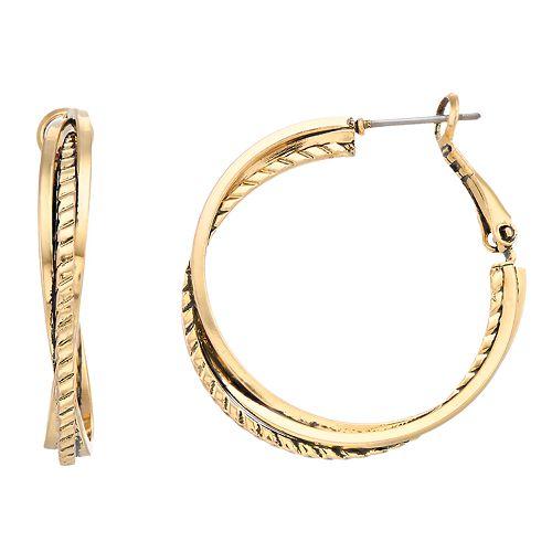 Dana Buchman Textured Twist Hoop Earrings