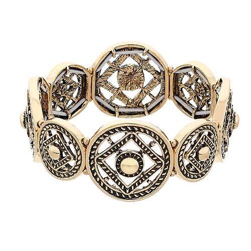 Dana Buchman Gold Tone Medallion Link Stretch Bracelet