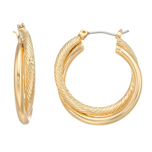 Dana Buchman Textured Crisscross Hoop Earrings
